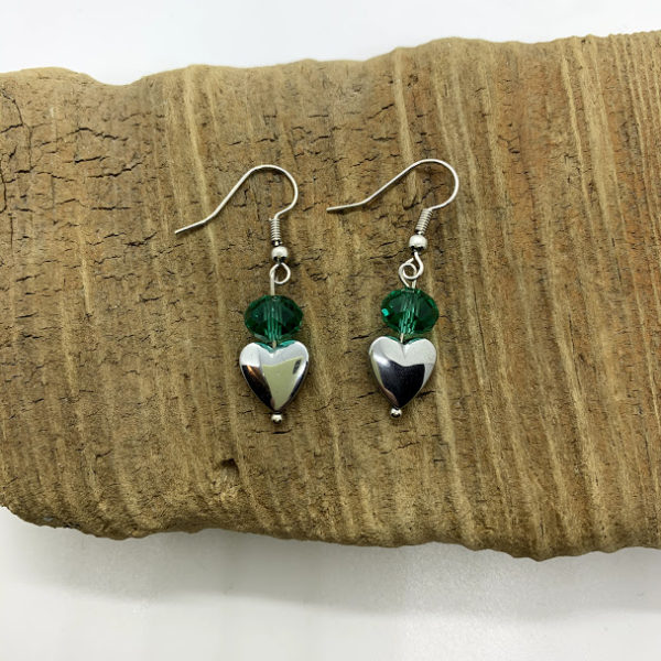 Green Bead and Heart Earrings
