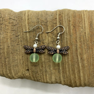 Faux Seaglass Dragonfly Dangling Earrings