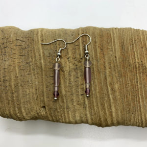 Small Purple Stone Dangling Earrings