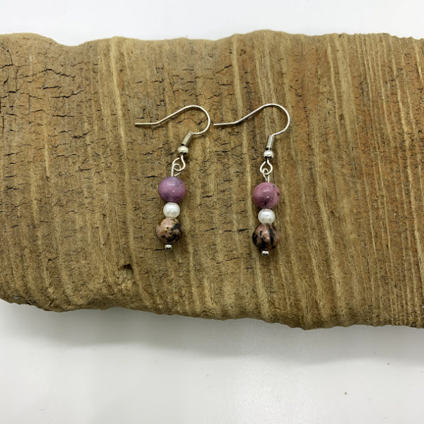 Pink and Black Marble Dangling Earrings