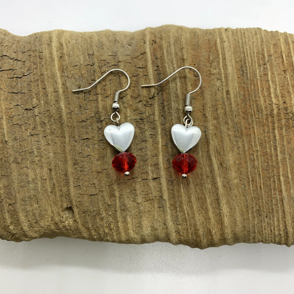 Silver Heart and Red Bead Dangling Earrings