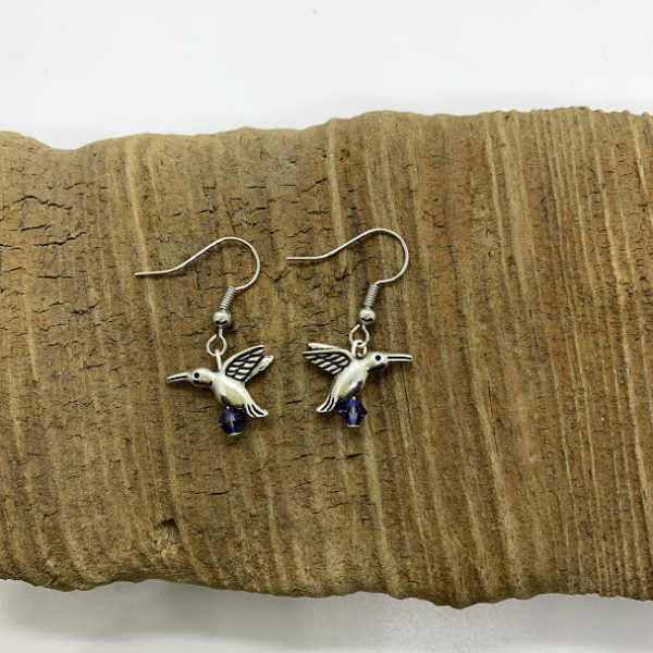 Purple Hummingbird Dangling Earrings