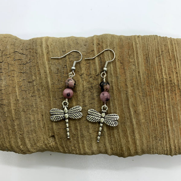 Pink and Black Dragonfly Dangling Earrings