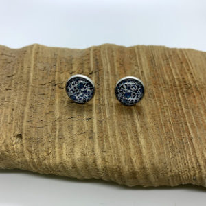 Blue and White Patterned Stud Earrings