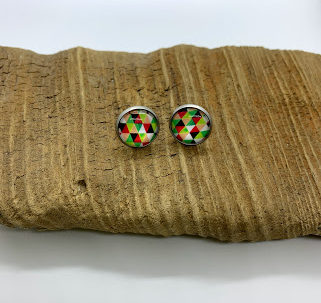 Triangular Patterned Stud Earrings