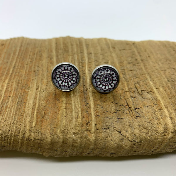 Brown and White Stud Earrings