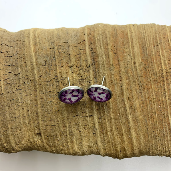 Purple and White Stud Earrings