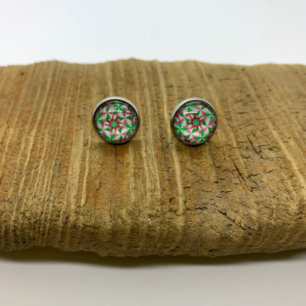 Quilt Patterned Stud Earrings