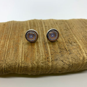 Yellow and Purple Patterned Stud Earrings
