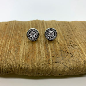 Maroon and White Patterned Stud Earrings