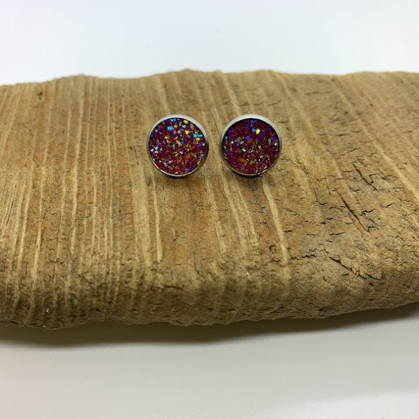 Dark Pink Stud Earrings