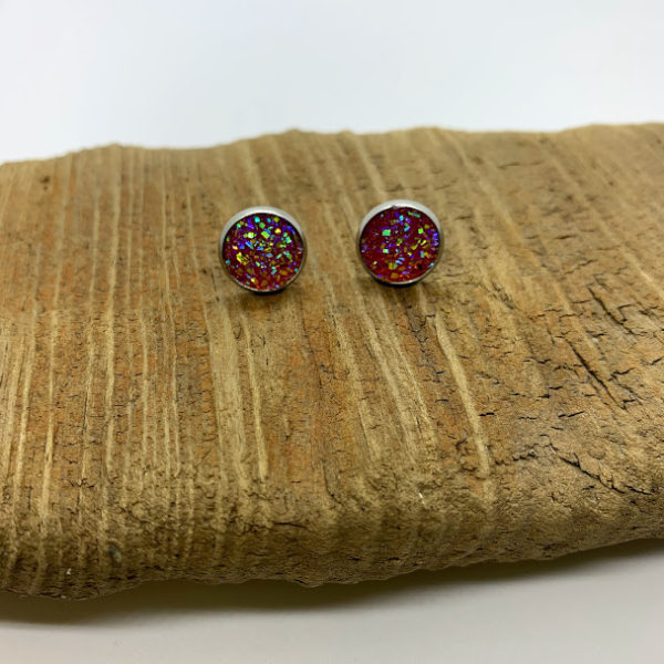 Mixed Orange and Pink Stud Earrings