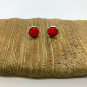 Solid Red Stud Earrings