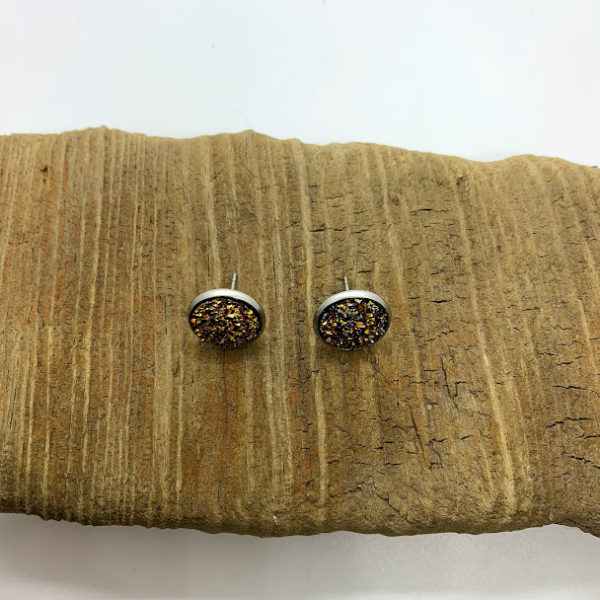 Mixed Pink and Gold Stud Earrings