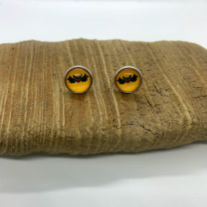 Happy Halloween Bat Stud Earrings