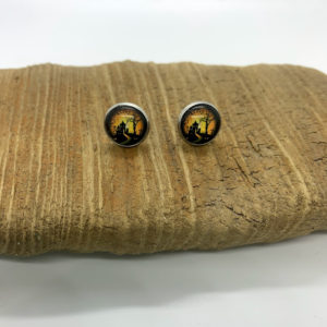 Yellow and Black Spooky Scenic Halloween Stud Earrings