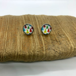 Patterned Christmas Tree Stud Earrings