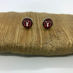 Plaid Patterned Christmas Stud Earrings
