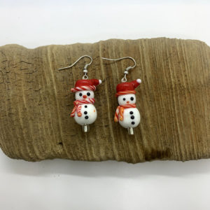 Snowman with Santa Hat Dangling Earrings