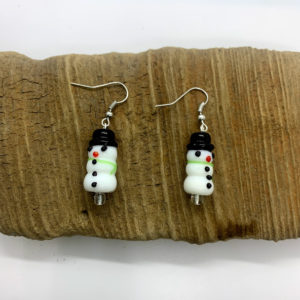 Snowman with Top Hat Dangling Earrings
