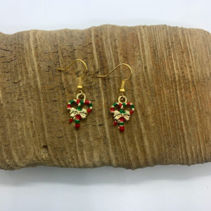 Pair of Candy Cane Dangling Earrings