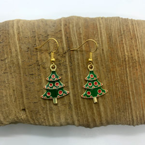 Christmas Tree with Ornament Dangling Earrings