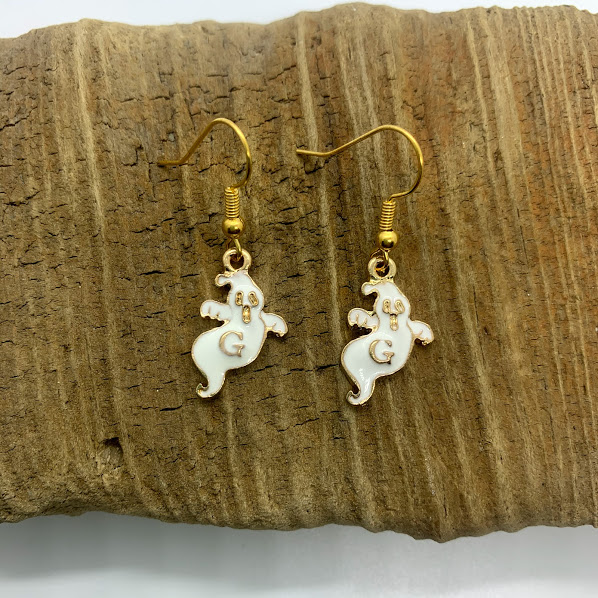 White and Gold Ghost Dangling Earrings