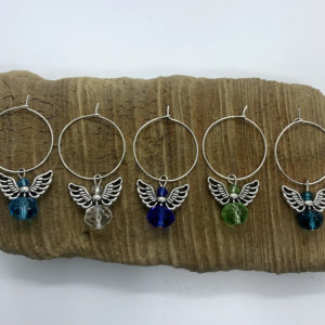 Five Piece Shades of Blue and Green Angel Wine Charm Set
