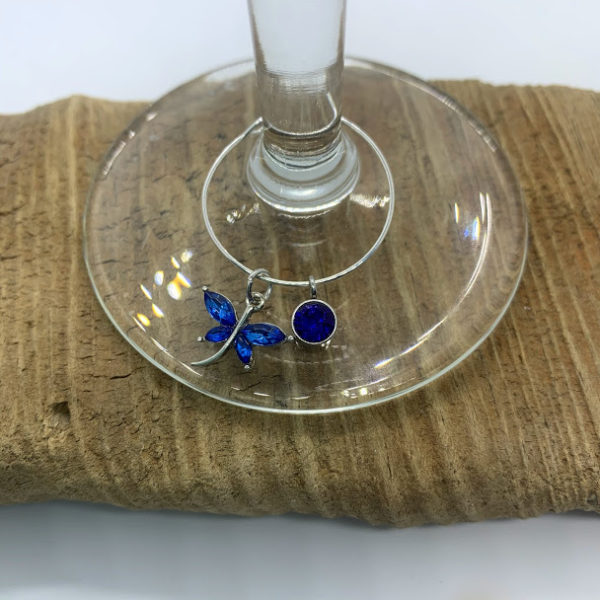 Five Piece Shades of Blue and Green Dragonfly Wine Charm Set