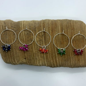 Five Piece Rainbow Beads Wine Charm Set