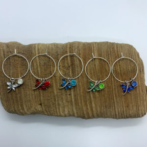 Five Piece Rainbow Dragonfly Wine Charm Set