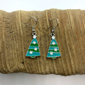 Blue and Green Christmas Tree Dangling Earrings