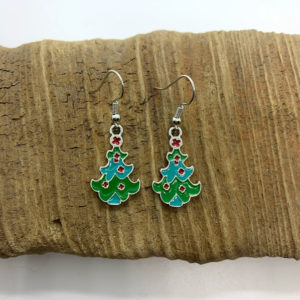 Abstract Christmas Tree Dangling Earrings