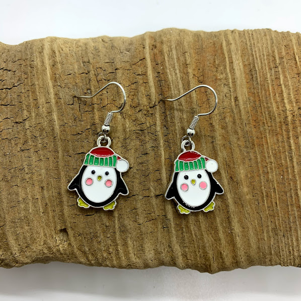 Christmas Penguin Dangling Earrings