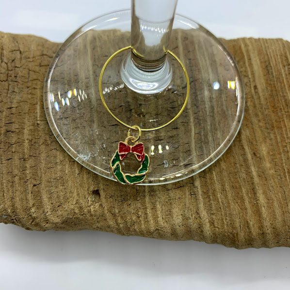 Five Piece Gold Christmas Wine Charm Set