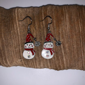Snowman with Snowflake Dangling Earrings