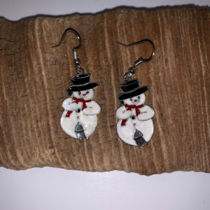 Snowman with Broom Dangling Earrings