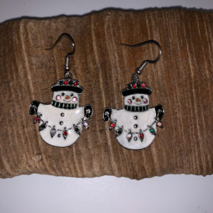 Snowman with Lights Dangling Earrings