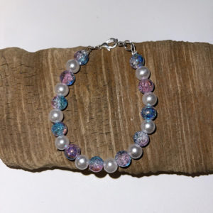 Irridescent Purple and Pearl Bracelet