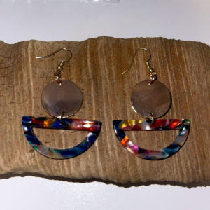 Rainbow and Gold Dangling Earrings