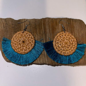 Turquoise Frill Dangling Earrings