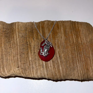 Red Seaglass with Crab Necklace