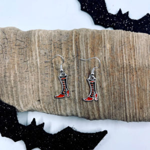 Orange and Black Witch Boot Dangling Earrings