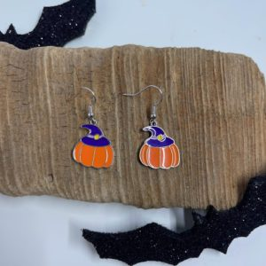 Pumpkin and Witch Hat Dangling Earrings